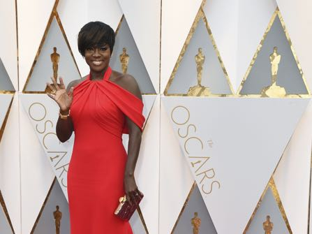 Viola Davis arrives at the Oscars on Sunday, Feb. 26, 2017, at the Dolby Theatre in Los Angeles. (Photo by Jordan Strauss/Invision/AP)