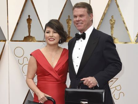 Martha L. Ruiz, left, and Brian Cullinan from PricewaterhouseCoopers arrive at the Oscars on Sunday, Feb. 26, 2017, at the Dolby Theatre in Los Angeles. (Photo by Jordan Strauss/Invision/AP)