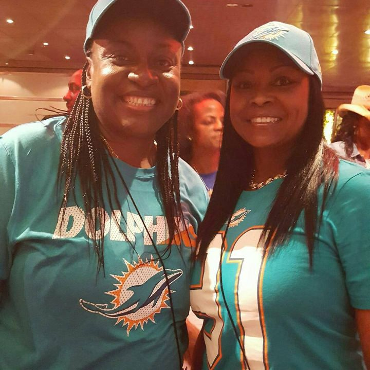 We got some Dolphins fans on the cruise.