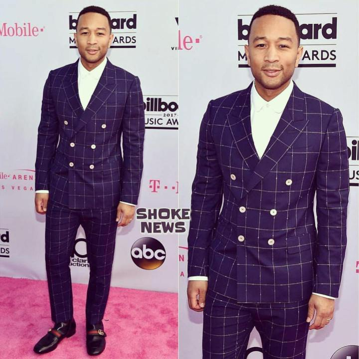 John Legend on the magenta carpet