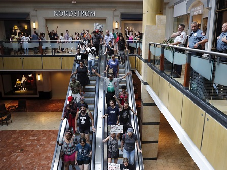 Protesters In A Mall