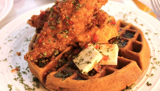 Chef Huda's Signature Fried Chicken & Sweet Potato Belgian Waffle [RECIPE]